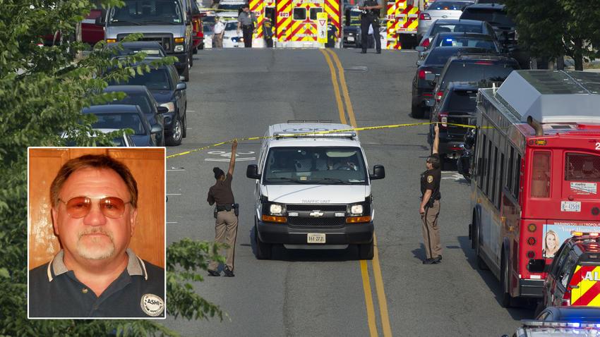 총격사건이 발생한 버지니아주 알렉산드리아 야구 연습장에 앰뷸런스가 출동하고 있다. 왼쪽 사진은 총격범으로 밝혀진 제임스 홋킨스