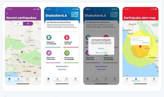 LA시가 개발한 지진경보앱 ShakeAlertLA