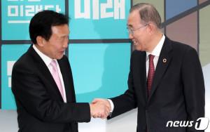 손학규 대표 찾은 반기문 위원장