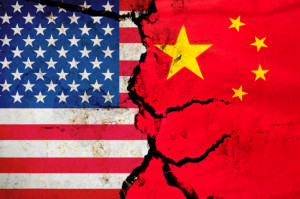 Using the split effect to express the relationship between China and the United States _ graphic concept