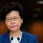 8일 열린 기자회견에서 캐리 람 홍콩 행정장관이 말을 이어가고 있다. [로이터=헤럴드경제]