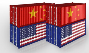 United States and China Cargo Container. Trade war Concept. 3D rendering