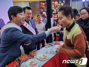 황명선 논산시장이 13일 오후 베트남 하노이(현지시간 오후 5시) K마켓에서 논산딸기 판촉활동을 펼치고 있다. 이날 황 시장은 고상구 K마켓 회장과 딸기 500만불 수출 업무협약을 체결했다. [뉴스1]