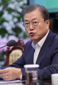문재인 대통령이 2일 오후 청와대에서 수석·보좌관 회의 모두발언을 하고 있다. [연합=헤럴드경제]